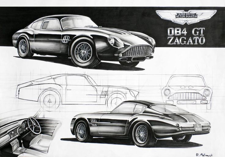 Aston Martin DB4 GT Zagato Markers 70x50cm drawn in 2011  by Rafał Malinowski