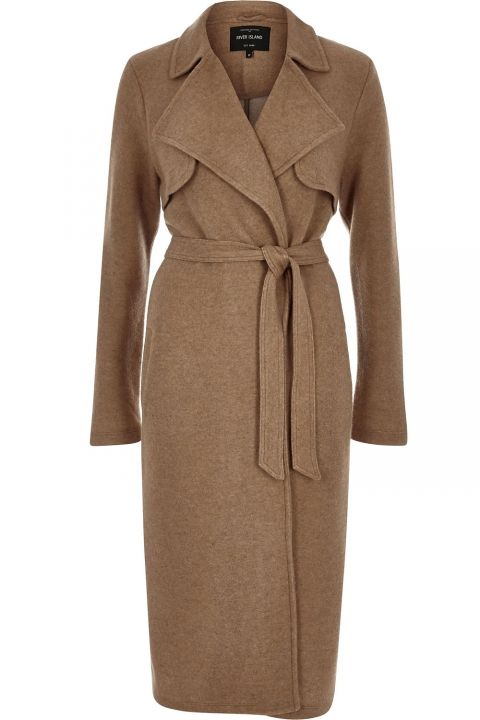 River Island Camel Brown Midi Trench Coat, £75