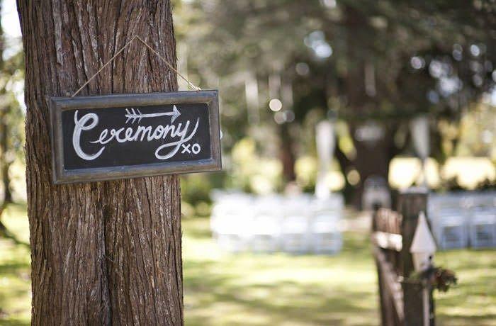 We love this cute ceremony sign in the trees at Gabbinbar Homestead. www.gabbinbar.com.au