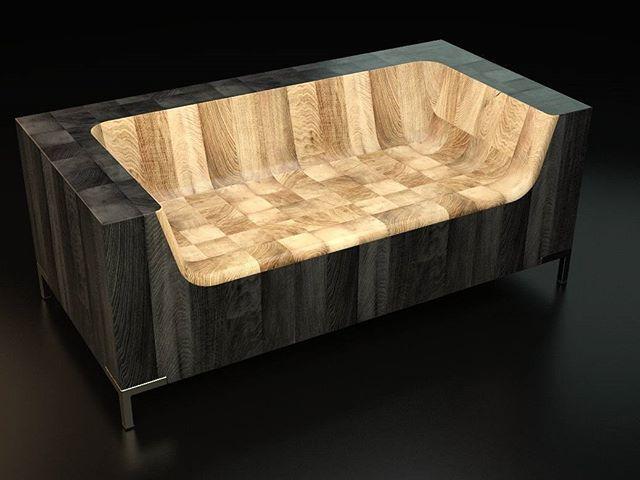4x4 lumber Endgrain Sofa #furnituredesign #furniture #sofa #sofadesign #charredwood #shousugiban #industrialdesign #vray #rhino3d