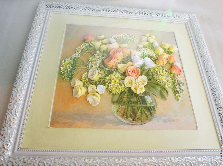 Купить Картина лентами Букет с раункулюсом 31 х 31 см - Вышивка лентами