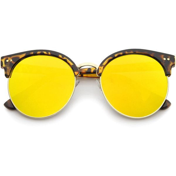Modern Flat Front Oversize Round Mirror Lens Cat Eye Sunglasses a207 found on Polyvore featuring accessories, eyewear, sunglasses, flat-top sunglasses, mirrored lens sunglasses, revo sunglasses, oversized sunglasses and oversized cat eye sunglasses