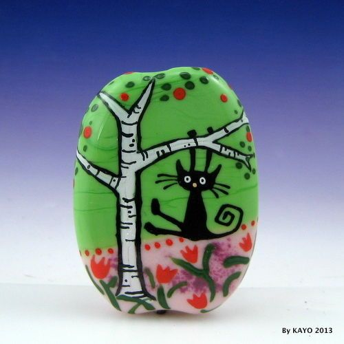 """""""A SPRING SWING"""" byKAYO a Handmade HAPPY CAT Lampwork Art Glass Focal Bead - free formed & flattened size 49 mm tall x 35 mm wide x 8 mm thick - Moretti(effetre) soft glass used with design in various colours of enamel SRA - eBay<3<3<3"""