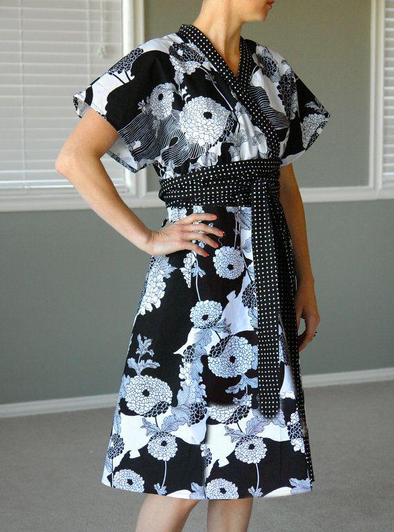 Yukata Kimono - Ladies Black Chrysanthemum - Kimono Dress Sizes 4-14 Womens Modern Kimono. $96.00, via Etsy.