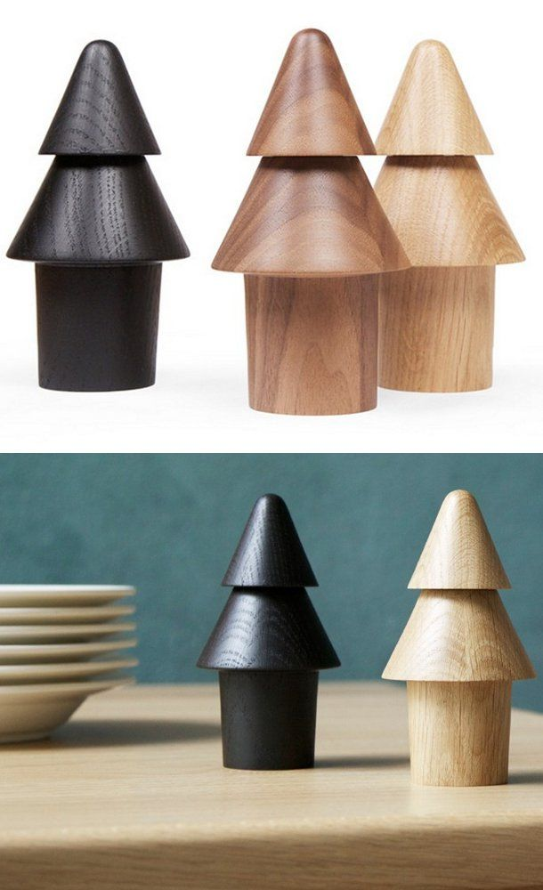 Wooden salt and pepper shaker TREE by OBJEKTEN | #design Yiannis Ghikas #wood #christmas @OBJEKTEN