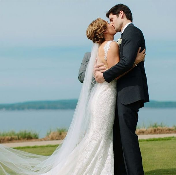 Ben Aaron and Ginger Zee wedding kissing