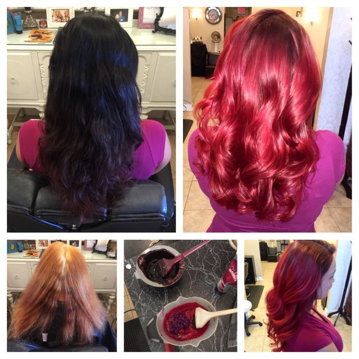 Before During After Vivid Red Hair Shiney Healthy Vivid