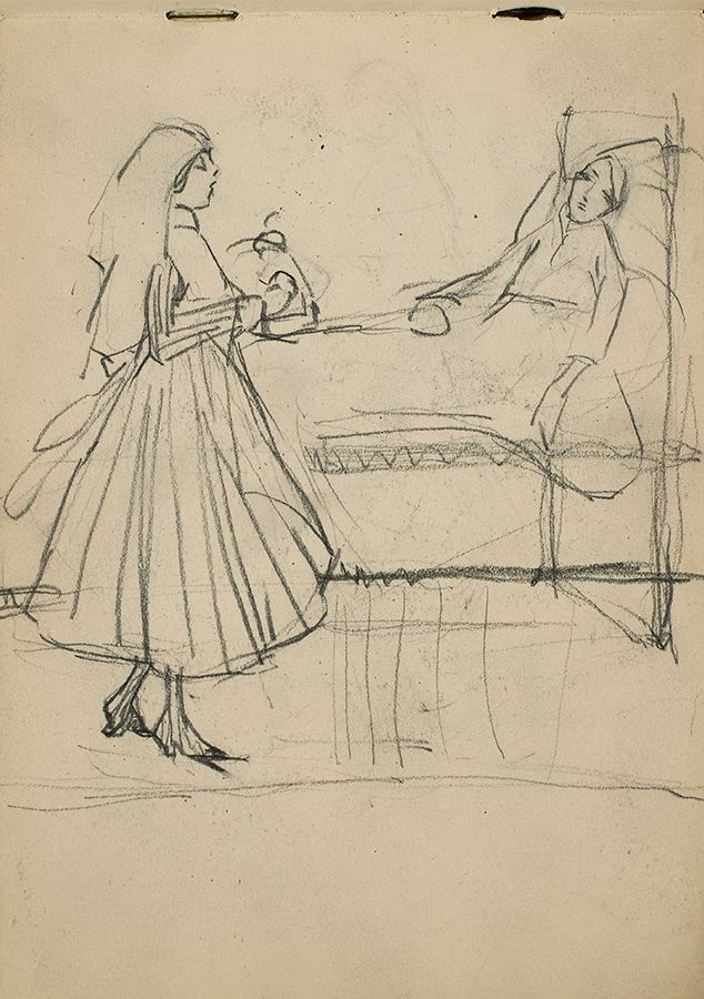 "During the First World War, Heward travelled to England with her mother and sister to work for the Red Cross. ""Untitled (Figural sketch of a nurse and a patient),"" c. 1916, National Gallery of Canada Library and Archives."