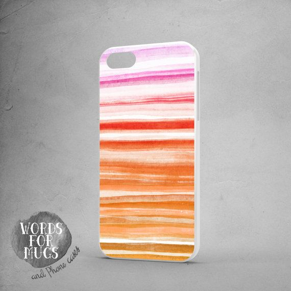 watercolor iPhone 5s case stripes orange pink by DeWadaSTORE