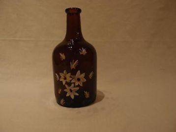 ≥ Bruin fles vaasje met geschilderde bloemen, retro, vintage - Woonaccessoires | Vazen - Marktplaats.nl