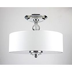 Crystal Decorated Off-White Shade Flushmount Ceiling Chandelier (Overstock.com)