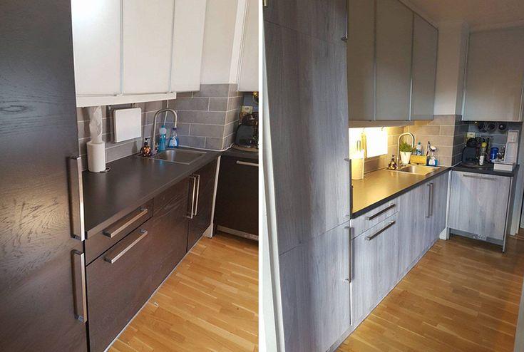 Før og etter . Få et nytt kjøkken med selvklebende folie som etterligner treverk.   #kontaktplast #interiør #inspirasjon #kjøkken