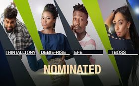 Early online polls shows fans favorite Efe is leading other Big Brother Naija nominated Housemates.  Debbie-Rise Tboss Thin Tall Tony and Efe are all up for eviction this Sunday.