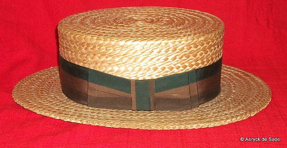 Vintage Antique Straw Boaters Hat Hokins Baltimore by AeryckdeSade, $75.00