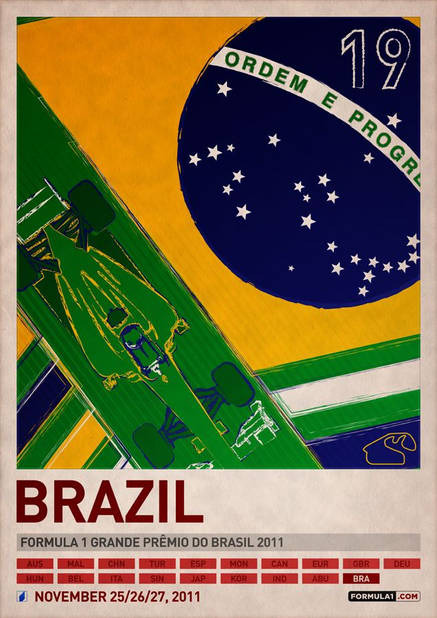 Formula 1 2011 Poster Series by PJ Tierney. 19 Brazil