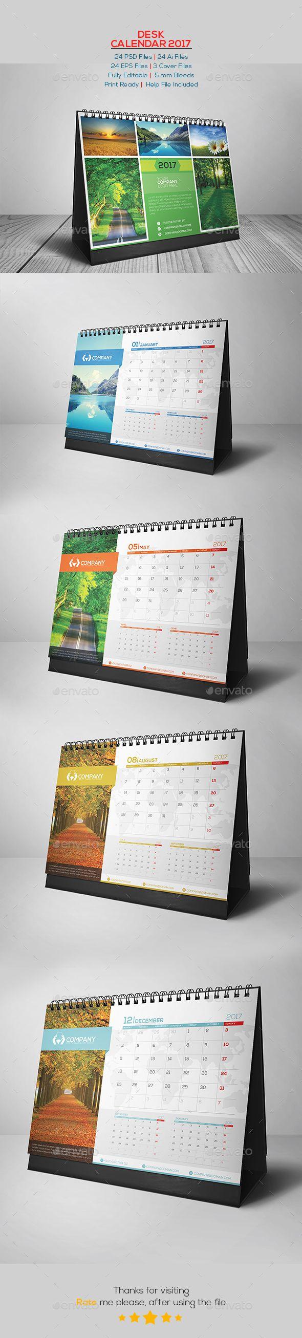 Desk Calendar 2017 v.01  — PSD Template #inspiration #week starts saturday #calendar • Download ➝ https://graphicriver.net/item/desk-calendar-2017-v01/18606151?ref=pxcr