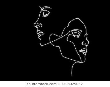 Continuous line, drawing of set faces and hairstyle, fashion concept, woman beau… – Sira