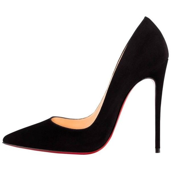 Preowned Christian Louboutin New Black Suede So Kate Evening High... ($1,425) ❤ liked on Polyvore featuring shoes, pumps, black, heels, high heeled footwear, christian louboutin shoes, black evening shoes, suede shoes and heel pump