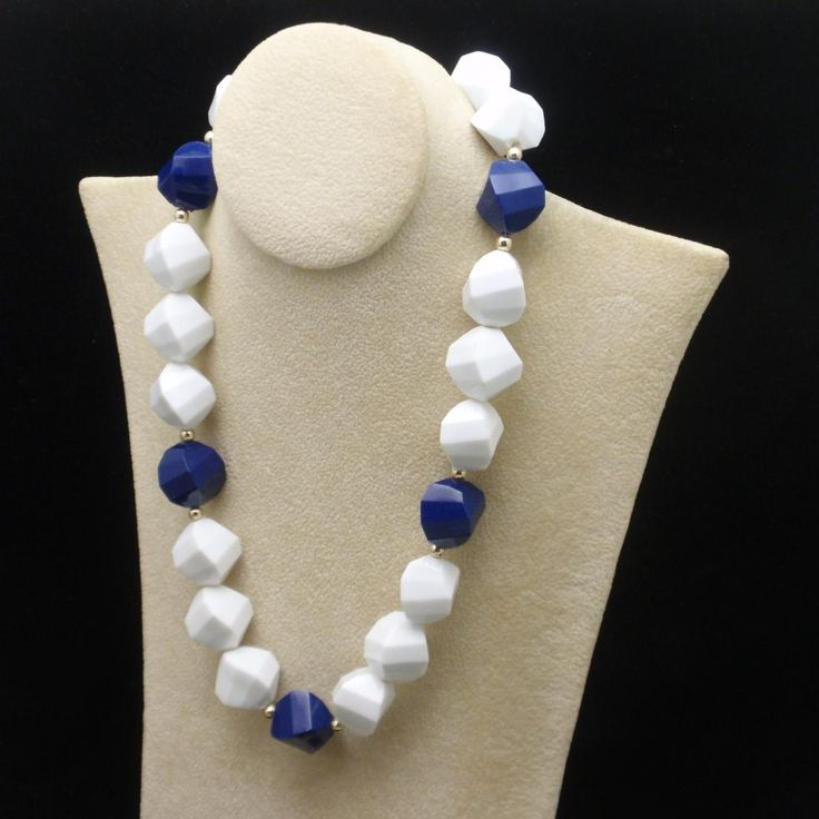 Chunky Bead Necklace Navy Blue and White Vintage