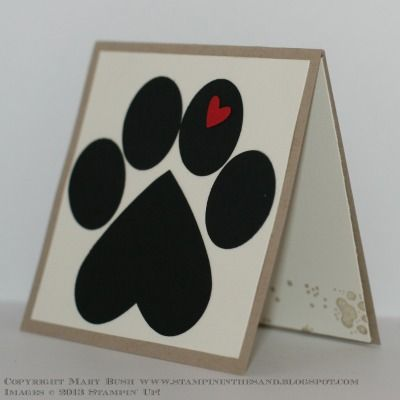 "Wee Paw 3""x3"" Note Card by MaryEB - Cards and Paper Crafts at Splitcoaststampers"