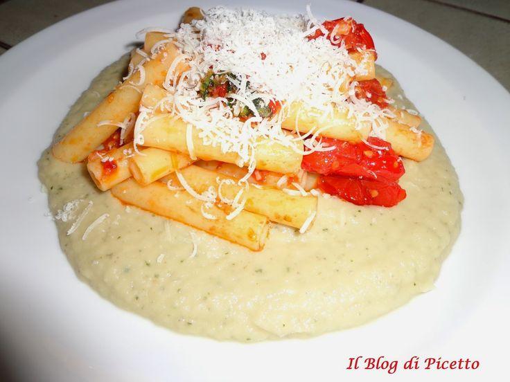 Pasta con pomodorini freschi e crema di melanzane (rivisitazione della pasta alla Norma)