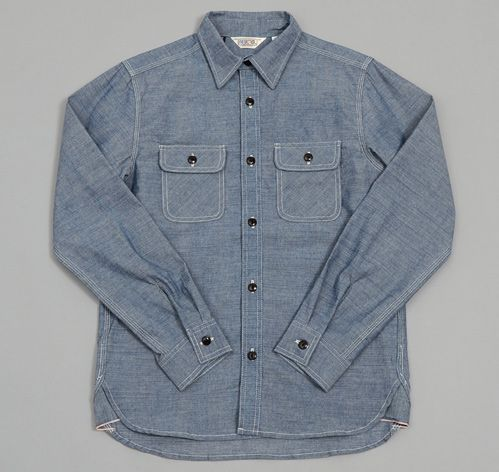Heavy chambray work shirt blue made in california usa for Blue cotton work shirts