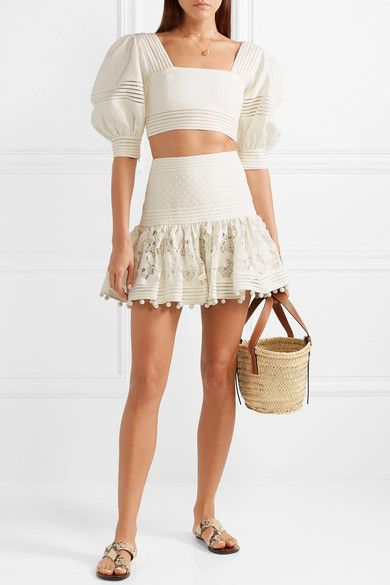 9ac6020bb506 Zimmermann | Corsage pompom-embellished guipure lace and Swiss dot-tulle mini  skirt | NET-A-PORTER.COM