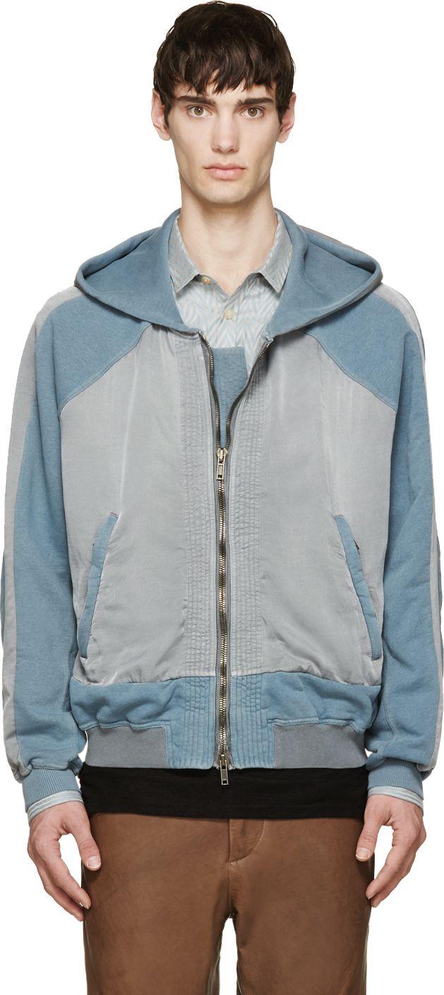 Haider Ackermann Blue & Grey Zip-Up Hoodie