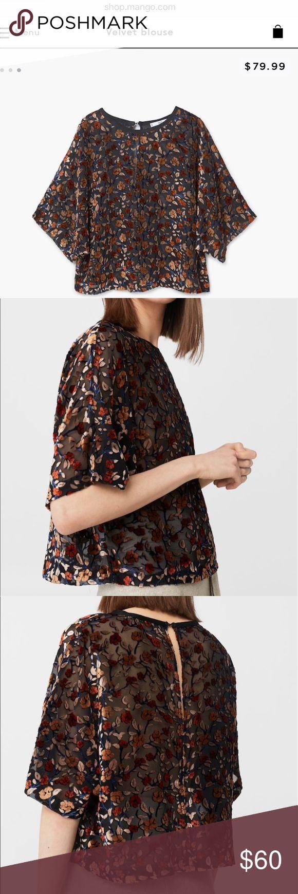 Mango velvet blouse Semi sheer velvet blouse from Mango. Never worn. NWOT. Purchased in Spain. Still online! Mango Tops Blouses