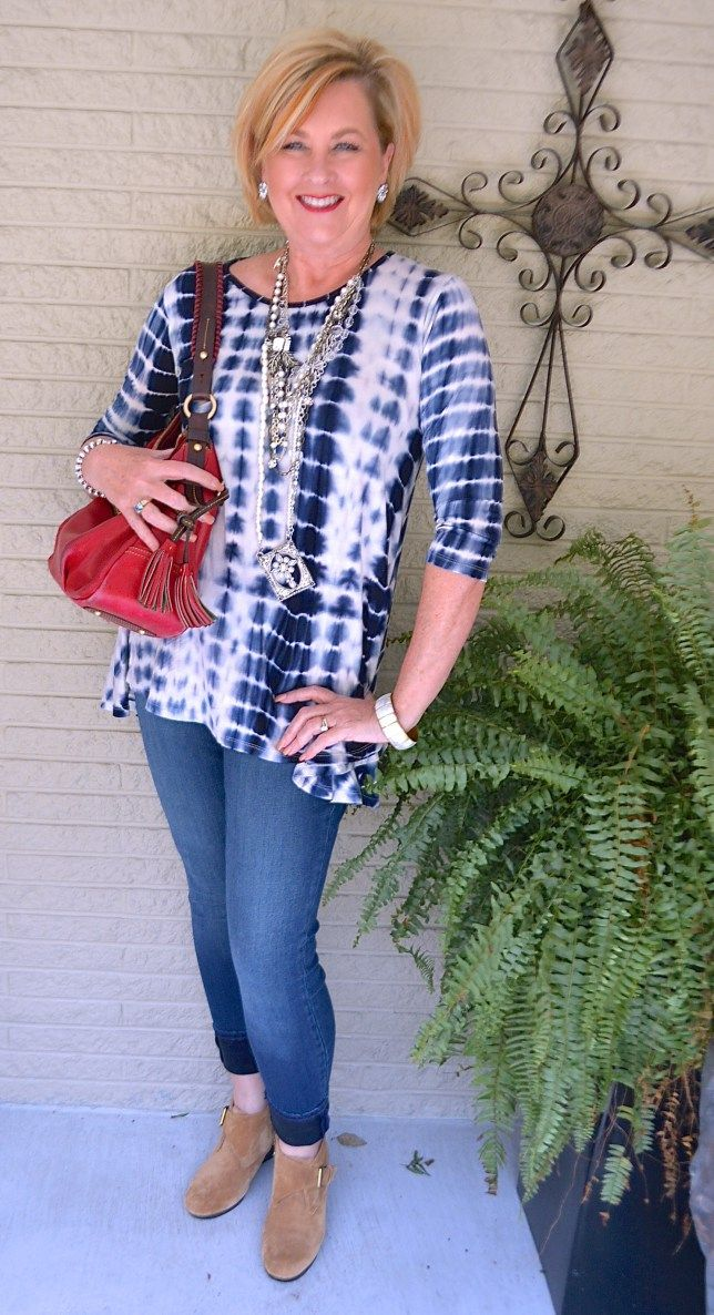 50 IS NOT OLD   TIE-DYE AND JEGGINGS   Fall   Tie Dye   Boho   Fashion over 40 for the everyday woman #plunderjewelry #rodanandfields #glowing #over40