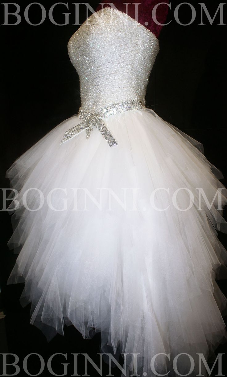 Image detail for -WHITE AB DIAMOND CRYSTAL BEADED BODICE MULLET WEDDING DRESS