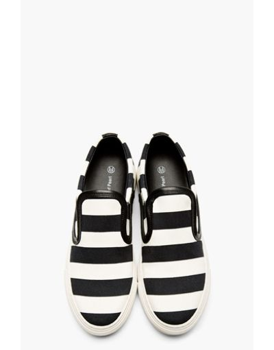 Mother Of Pearl White & Black Striped Leather Trim Slip-On Sneakers #refinery29