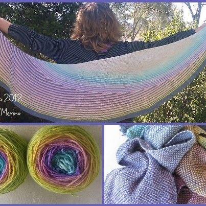 My first color affection shawl on 5 Ply SIlk/Merino in a rainbow gradient  dyed by me (Wooltopia)