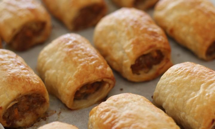 These chicken sausage rolls are tasty and have hidden veggies inside. They are great cut into bite-sized pieces for parties or just the regular size to feed the family.