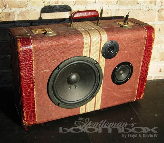 Gentleman's boombox. Luggages upcycled into boomboxes.