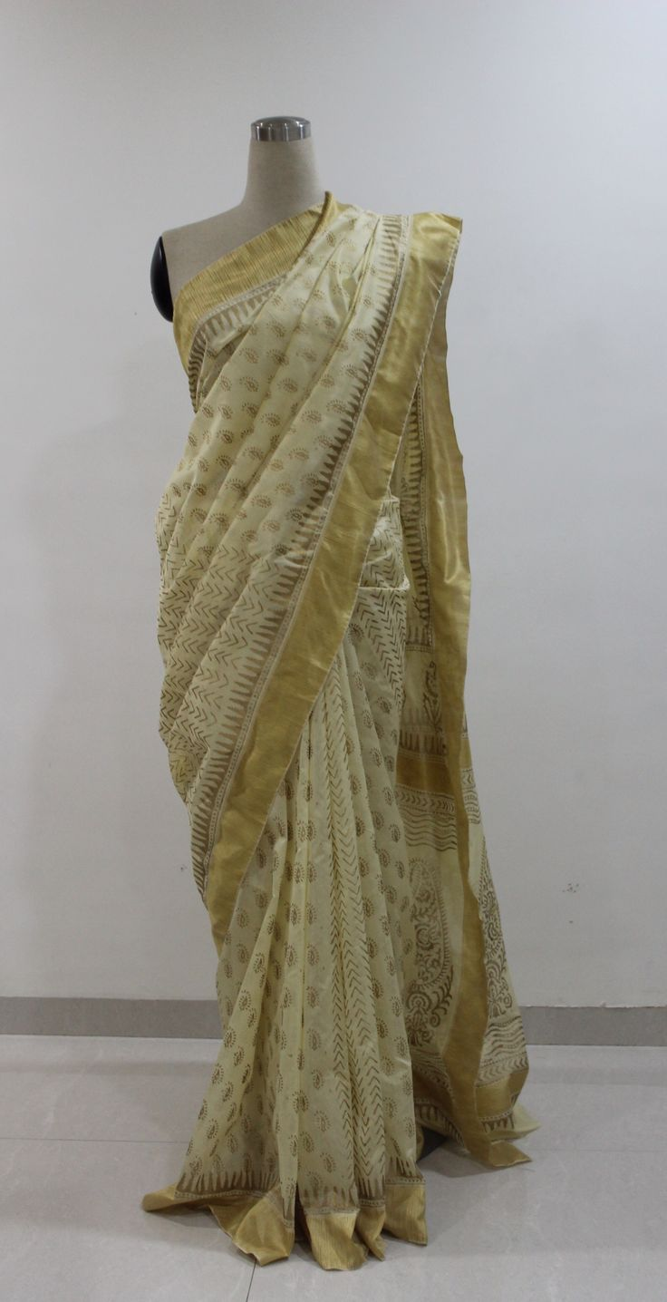 Cream and Gold Hand Block Printed Chanderi Saree..To buy this Saree drop a message..