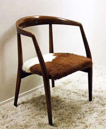 Mid Century Modern Lawrence Peabody Cowhide Upholstered Chair Danish Mod