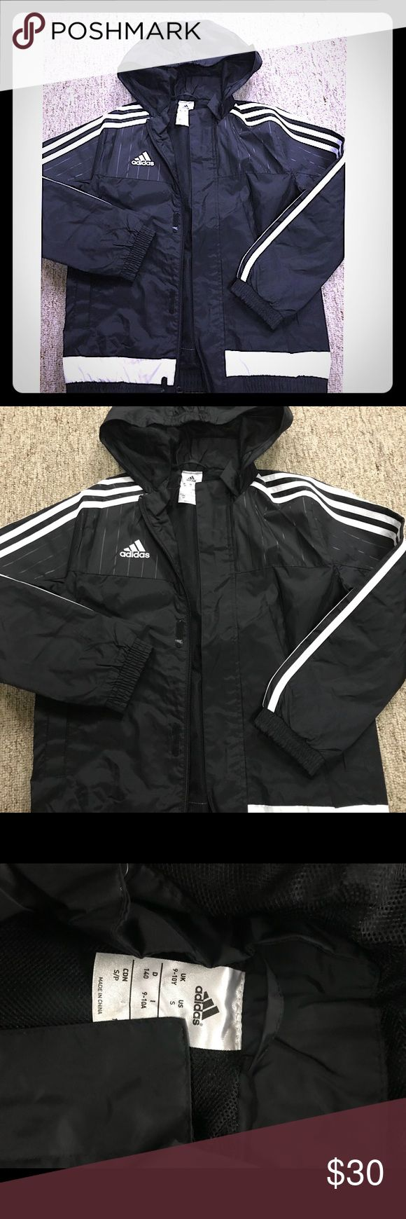 🎈ADIDAS🎈active jacket boy boys Hooded Jacket for boys with full zip in front. Size S. Never worn adidas Jackets & Coats Raincoats
