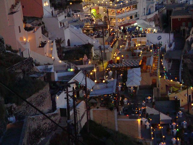 Fira by night. Enjoy! #Santorini