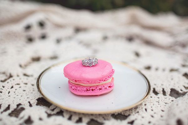 Pink French Macarons and a Vintage Diamond Engagement Ring | Amy Allen Photography | See More! http://heyweddinglady.com/french-country-chic-wedding-style/