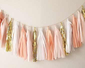 gold and pink lingerie Shower Decorations | Gold Tassel Garlan d Banner - Mothers Day, Spring Decor, Party Decor ...