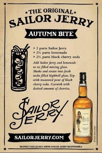 Autumn Bite. Sailor Jerry Spiced Rum, lemonade, black cherry soda, cherries. Page no longer exists