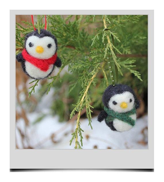 4 Hand Needle Felted Christmas Ornaments  Nerdy by needlenerd, $32.00