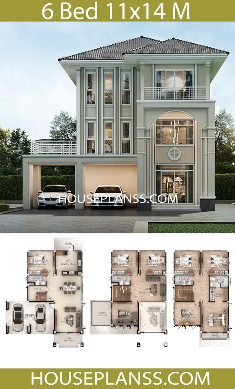 4 Bedroom Passive House Designs Bungalows 11 M X 14 4 M: House Plans Idea 11x14 With 6 Bedrooms