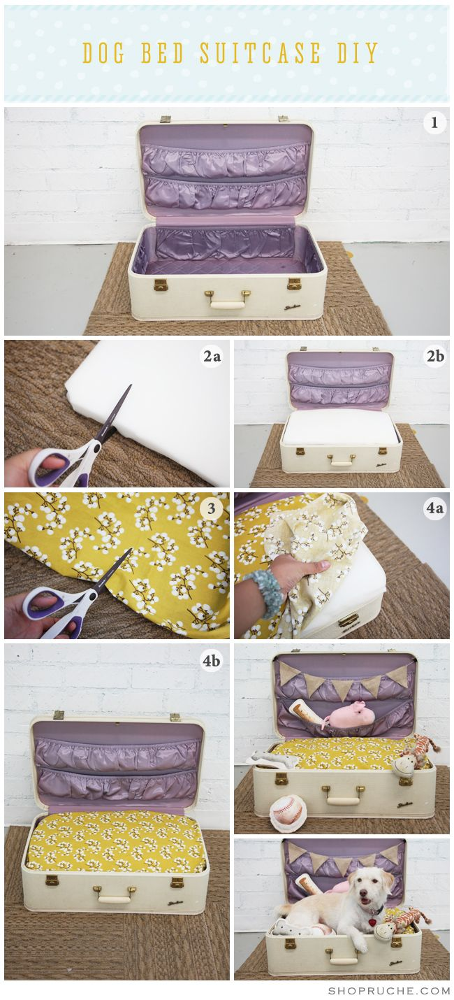 Dog Bed Suitcase DIY