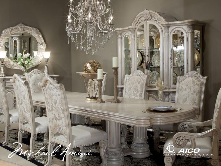 Michael Amini Monte Carlo Silver Pearl II Traditional Dining Room Set By  AICO