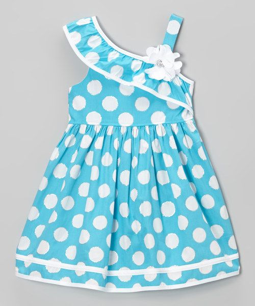 Look at this Youngland Blue & White Polka Dot Asymmetrical Dress - Toddler & Girls on #zulily today!