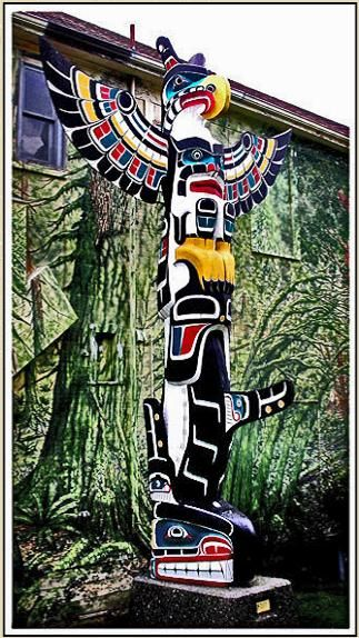 Totem Pole for Sale Thunderbird Orca Totem Pole 20 foot Northwest Coast Native American Indian