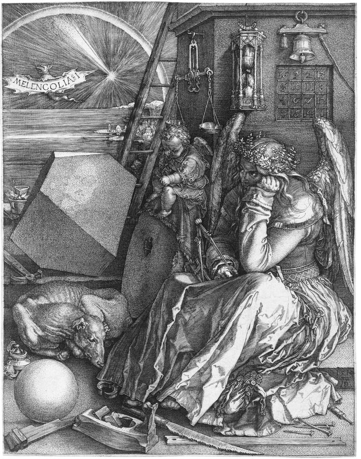 Melancholia & I, 1514 by Albrecht Dürer (1471–1528). That dark temperament is personified by a female figure seated in the foreground. The winged infant beside her is a 'genius' (meaning an accompanying spirit). Melancholy was possessed by artists, in whom 'Imagination' predominates. If this interpretation is correct, Dürer has presented us with a portrait of his own temperament as an artist. Source: Wikipedia