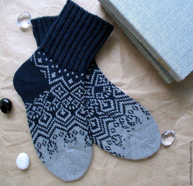 """Купить Носки шерстяные """"Скайфол"""" - темно-серый, тёмно-синий, серый, градиент, мужской подарок"""